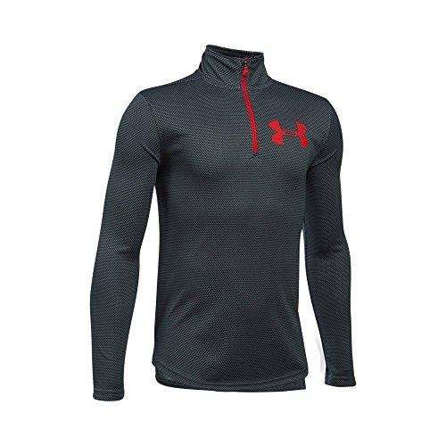 Under Armour Boys' Tech Textured ¼ Zip, Black/Red, Youth Small - Quarter Zip Shirt