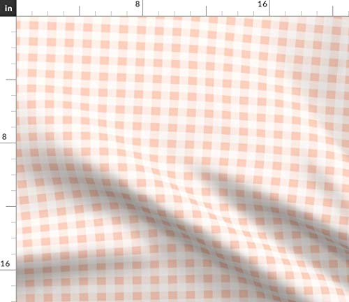 Spoonflower Gingham Fabric - Blush Peach Summer Picnic Plaid Check Print on Fabric by The Yard - Denim for Sewing Bottomweight Apparel Home Decor Upholstery