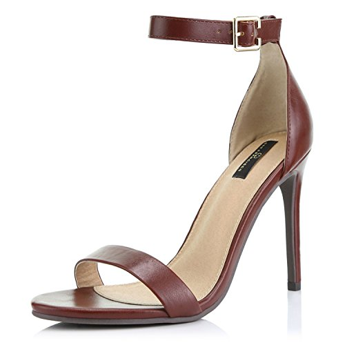 DailyShoes Women's Open Toe Ankle Buckle Strap Platform Casual Pump Heel Sandal Shoes, Brown PU, 6.5 B(M) US