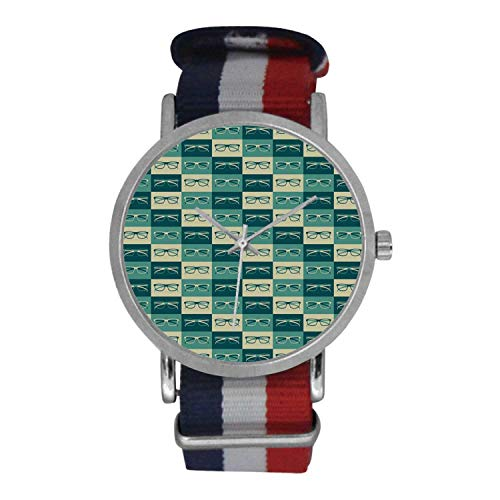 Indie Simple Nylon Strap Watch,Pattern with Eyeglasses in Vintage Style Hipster Cool Collection Decorative for Men,Case Diameter: ()