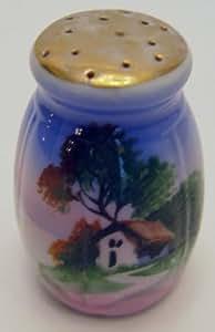 Vintage Handpainted Oriental Themed Cottage Blue Salt or Pepper Shaker