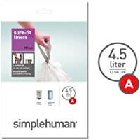 simplehuman CW0161 Code B Custom Fit 6L Trash Can Liners, 30/Box
