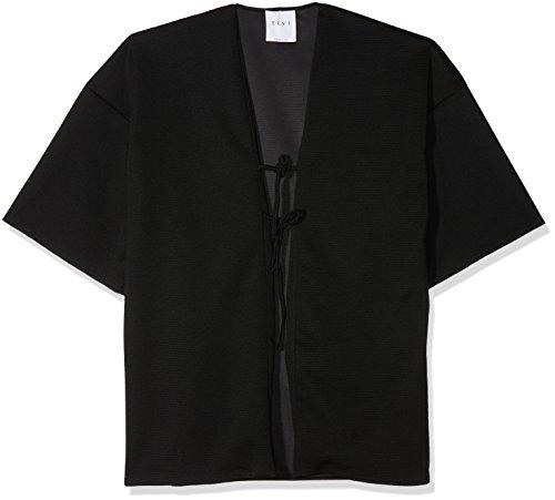 Nero Bonded Lacquer Elvi With Donna The black Ties Jersey Kimono Texture 001 Double Cappotto qP5wHEfwx