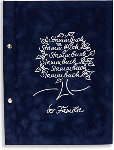A4 SPB behördenverlag de la familia - Lile -, azul oscuro, de plata de árbol genealógico en relieve, con hojas, en libros, para toda la familia libro, libro de familia, libro, para
