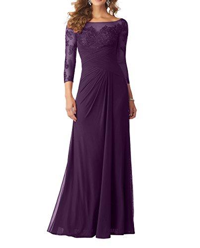 Abendkleider Neu 2018 Spitze A Chiffon Brautmutterkleider Langarm Rock Damen Elegant Traube Charmant Linie Partykleider pYqBw