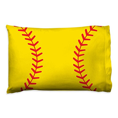 Close Up Stitches Pillowcase | Softball Pillows by ChalkTalk ()