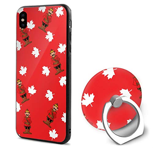 (LeYue iPhone Xs/X Case, Maple Leaves and Canada Mountie Slim Fit Liquid Silicone Gel Rubber Shockproof Case Soft Cover +Finger Ring Holder Stand Grip Mount Kickstand for iPhone X/XS 5.8)