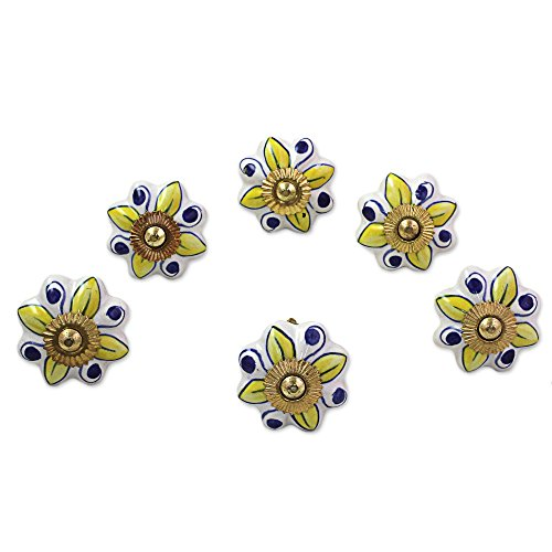 NOVICA Yellow Blue and White Floral Ceramic Nickel Plated Brass Cabinet Knobs, Bright Sunshine' (Set of 6, Iron Screws Included) ()
