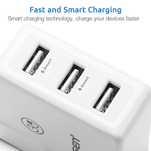 PISEN 3-Port USB Wall Charger 15.5W 5V/3.1A Travel USB Power Adapter with Smart Technology and Foldable Plug for iPhone X/8/7/6s/6 Plus, iPad, Samsung Galaxy, Kindle More