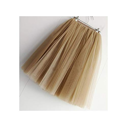 7 Layers Knee Length Tulle Skirt Tutu Women Skirt High Waist Pleated Skirt,Khaki,XL