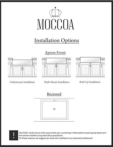 TRUE FIRECLAY Stria Reversible 30'' Apron Front Sink by MOCCOA, Farmhouse Kitchen Sink White … by MOCCOA (Image #6)