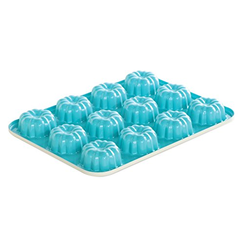 Nordic Ware 52822 12-Cavity Bundt Cupcake Pan, Mini, Colors Vary