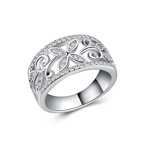 Huitan Hollow Blossom Leaf Design Cubic-Zirconia Ring Cocktail Party Band Rings for Women Size 6-10 (Silver, 8)