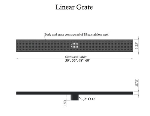 60'' LINEAR DRAIN WITH TILE INSERT GRATE WITH FREE LINEAR DRAIN HEIGHT ADJUSTER by Thunderbird Products, Inc. (Image #2)