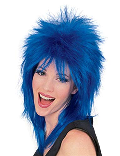80s Star Rock Glam (Mens Womens Blue Punk 80s Rock Super Star Costume Wig)