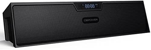 Wireless Speakers, DBPOWER BX-100 Portable Bluetooth Stereo Speakers Multimedia with Enhanced Bass Resonator & LED Display, FM Radio, Alarm Clock, Built-in Microphone,Black