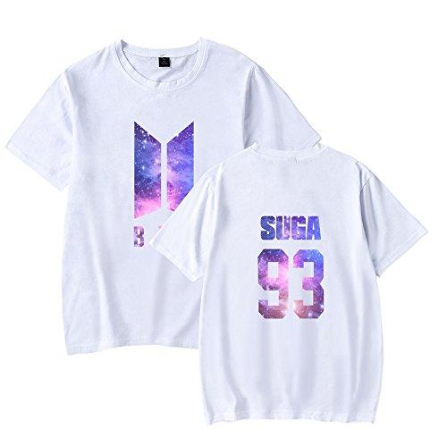 Rotondo Bloom Sunvool Boys Young shirt Sport Bluse Kpop Manica T Camicie Donna Collo Floral Bangtan Top Maglietta Corta Tshirt Forever Estive White5 Bts FwFPR0rq