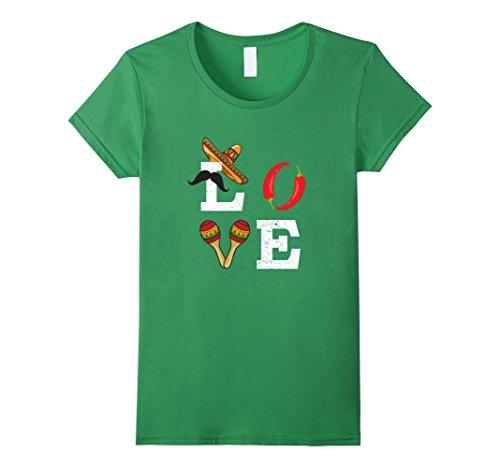 Women's Love Mexico Fiesta Cinco De Mayo Costume T-Shirt Small Grass (Mexican Ladies Costume)