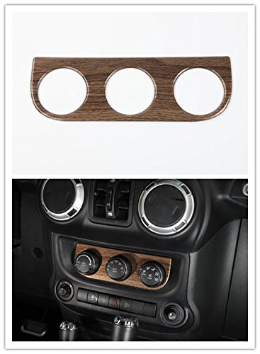 Highitem Carbon Fiber Wood grain Interior Air Conditioning Switch Panel Decoration Cover Trim Stickers For Jeep Wrangler 2011-2017 (Wood Grain)