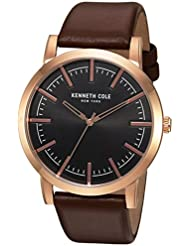 Kenneth Cole New York Mens Slim Quartz Stainless Steel and Leather Dress Watch, Color:Brown (Model: 10030809)