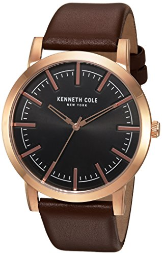 Kenneth Cole New York Men's 'Slim' Quartz Stainless Steel and Leather Dress Watch, Color:Brown (Model: 10030809)