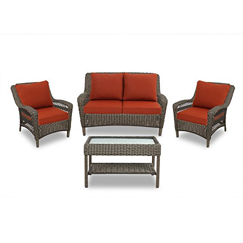 Quality Outdoor Living Sonoma All-Weather Resin Wicker Deep Seating Patio Set, 4-Piece, Dark Brown with Red Cushions