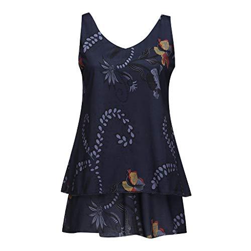 (TnaIolral 2019 Ladies Dresses Sexy Holiday Sleeveless Boho Midi Summer Casual Skirt (XL, Dark Blue))