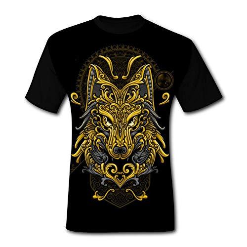 - Men's Wolf Lord Crew Neck Short Sleeve T-Shirt Summer Novel Cool Tees L Black