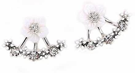 megko Fashion Lady Clear Crystal Daisy Flower Ear Jacket Earrings Back Ear Cuffs Stud Earring