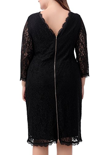 Nemidor Women's 3/4 Sleeves Plus Size Cocktail Party Midi Lace Dress (18W, Black)