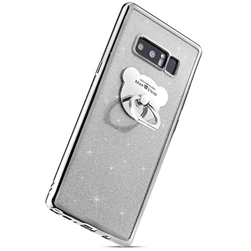 Herbests Compatible with Samsung Galaxy Note 8 Case Glitter Girls Women Bling Sparkle TPU Case with Bear Ring Stand Holder Cute Crystal Clear Soft Silicone Rubber Protective Case,Silver