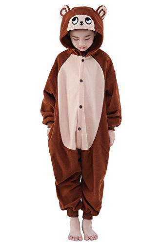 Newcosplay Children Unisex Pajamas Kids Animal Costume Cosplay Sleeping Wear (115, Brown -