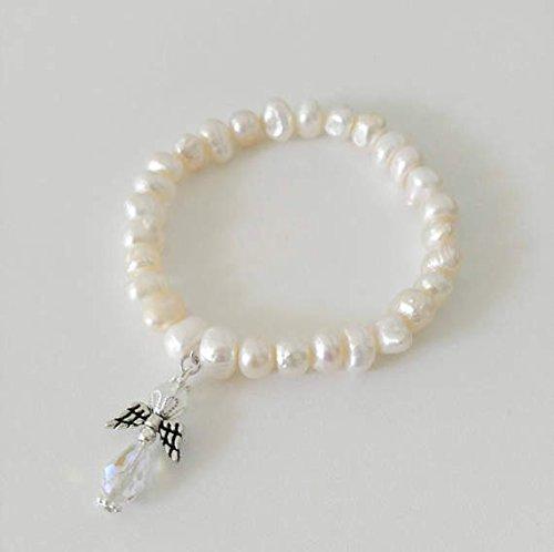 Fresh Water Pearl with Angel Charm Beaded Bracelet