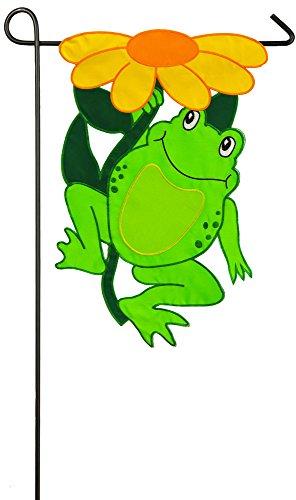 Frog Garden Flag (Evergreen Happy Frog Applique Garden Flag, 12.5 x 18 inches)