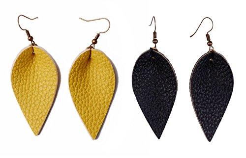 Brown Yellow Earrings - L&N Rainbery 2 Pairs Petal Leather Earrings Faux Leather Teardrop Earrings Leaf Drop Earrings (Yellow+Black)