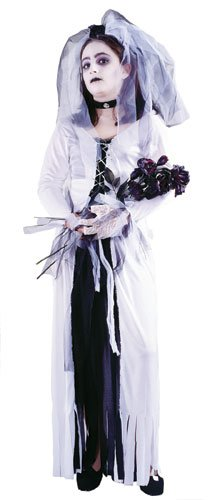 Skeleton Bride Girl Kids Halloween Costume Large