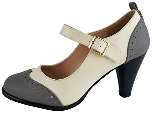 Chase & Chloe Womens Round Toe Two Tone Mary Jane Pumps Pumps-Shoes, Greywhite, 7.5