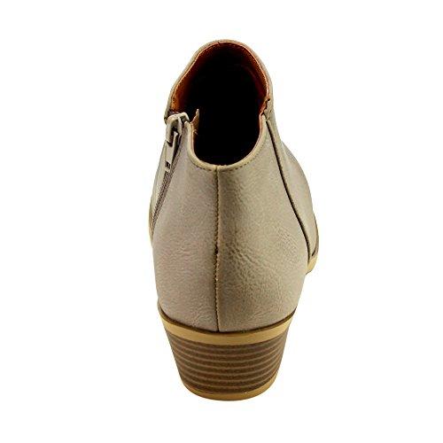 Western Stacked Ankle FC67 PU GREY Zipper Inside Women's Booties Soda Heel wqBpERE