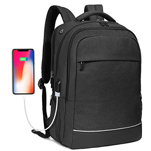 Travel Business Laptop Backpack up to 17.3 inch, Water Resistant College School Computer Bag for Women & Men and Students, Slim Work Backpack for Laptops & Notebook with USB Charging Port (Black) by Bropang