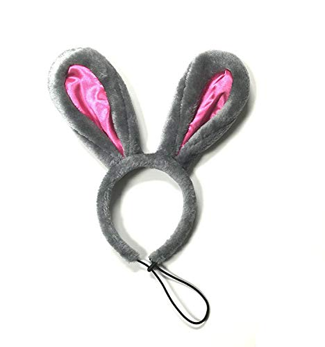 Dog Easter Costume - Midlee Easter Bunny Gray & Pink Rabbit Ears for Large Dogs Headband