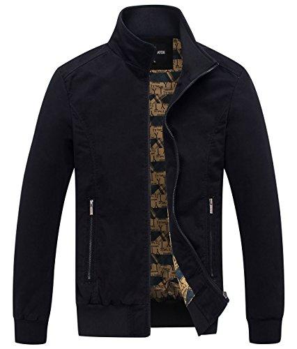 Chouyatou Men's Essential Cotton Lightweight Bomber Jacket (X-Large, Black)