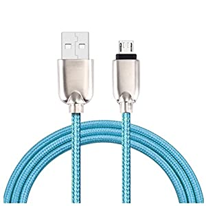 Braided Aluminum Micro USB Data&Sync Aobiny faster Charger Cable For Android Phone (Blue)