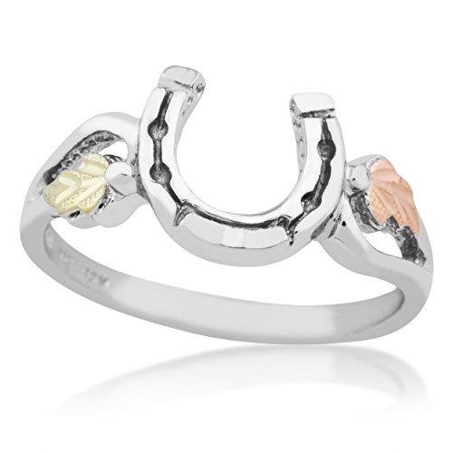 Slightly Antique Horseshoe Ring, Sterling Silver, 12k Green and Rose Gold Black Hills Gold Motif, Size (Black Hills Gold Horseshoes)