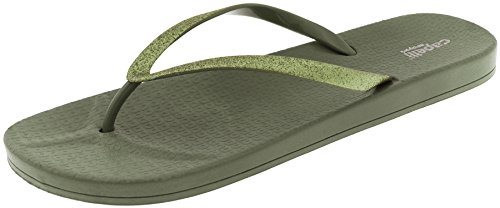 - Capelli New York Ladies Glitter Faux Leather Jelly Flip Flops Olive 9
