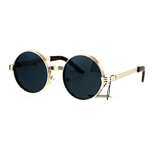 Steampunk Thick Metal Round Circle Lens Vintage Victorian Sunglasses White - Victorian Sunglasses
