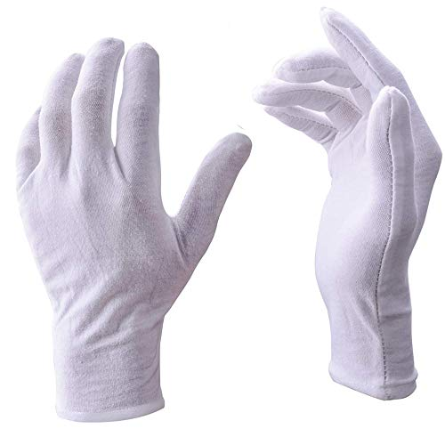 (Eyech White Work Gloves 15 Pairs Small Size Soft Cotton Working Glove Work Gloves Liner Soft Cotton Unisex Gloves for Coin Jewelry Silver Inspection, Catering Waiter, Doorman-6.9 Inch Length)