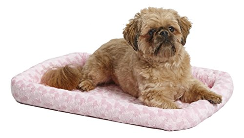 (24L-Inch Pink Dog Bed or Cat Bed w/Comfortable Bolster | Ideal for Small Dog Breeds & Fits a 24-Inch Dog Crate | Easy Maintenance Machine Wash & Dry | 1-Year Warranty)
