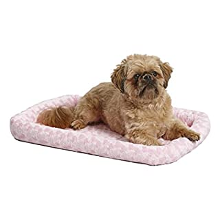 24L-Inch Pink Dog Bed or Cat Bed w/Comfortable Bolster | Ideal for Small Dog Breeds & Fits a 24-Inch Dog Crate | Easy Maintenance Machine Wash & Dry | 1-Year Warranty