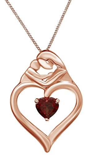 Jewel Zone US Heart Shaped Simulated Garnet Motherly Love Pendant in 14k Rose Gold Over Sterling Silver Garnet Heart Shaped Pendant