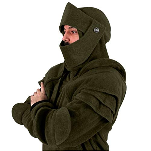 aliveGOT Men's Duncan Armored Hooded Knight Hooded Jacket Cosplay Costumes (Army Green, M)
